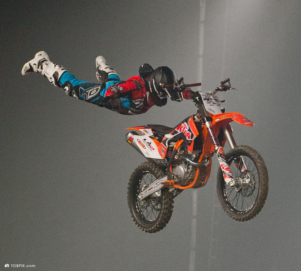 O'NEAL team rider Hannes Ackermann at the Night of the Jumps in Basel