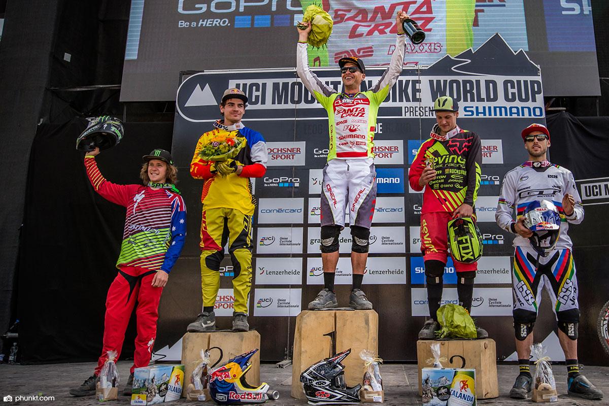 O'NEAL team rider Greg Minnaar winning his 18th World Cup in Lenzenheide 2015